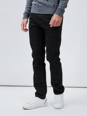 Pantalon droit coton uni noir homme