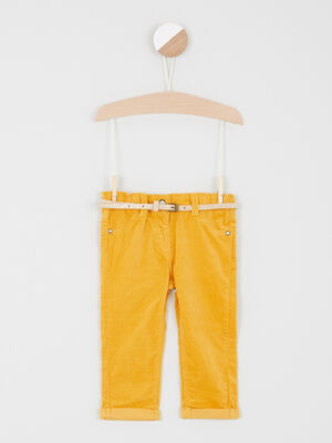 Pantalon slim effet velours jaune bebef