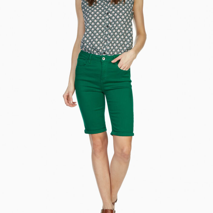 Bermuda 5 poches uni femme vert