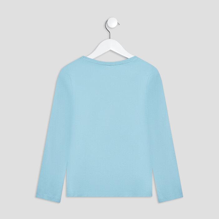 T-shirt manches longues fille bleu