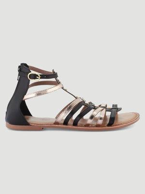 Sandales spartiates en cuir noir femme