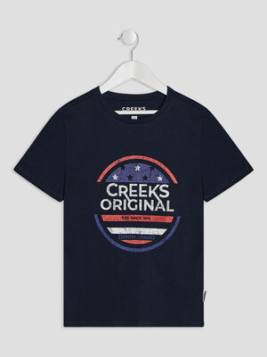 T shirt manches courtes Creeks bleu marine garcon