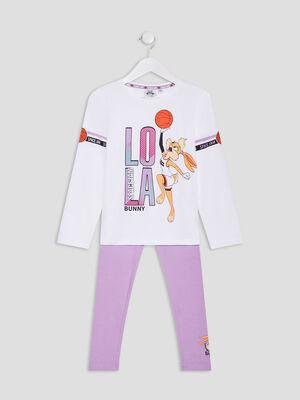 Ensemble pyjama Space Jam blanc fille