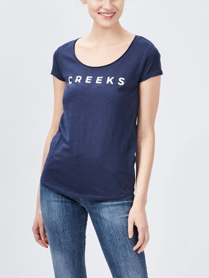 T shirt manches courtes Creeks bleu marine femme