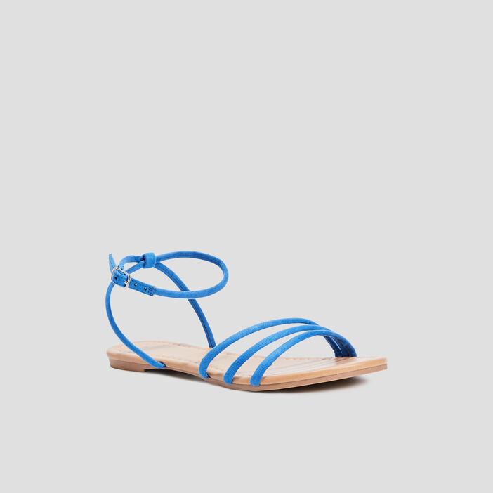 Sandales plates à brides femme bleu