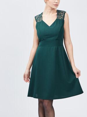 Robe evasee avec dentelle vert femme