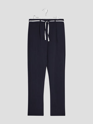 Pantalon droit ceinture bleu marine fille