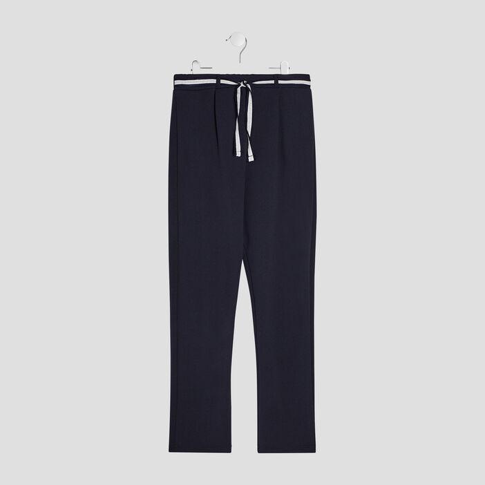 Pantalon droit ceinturé fille bleu marine