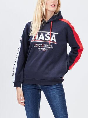 Sweat a capuche NASA bleu marine femme