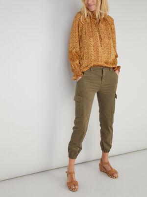 pantalon cargo uni vert kaki femme