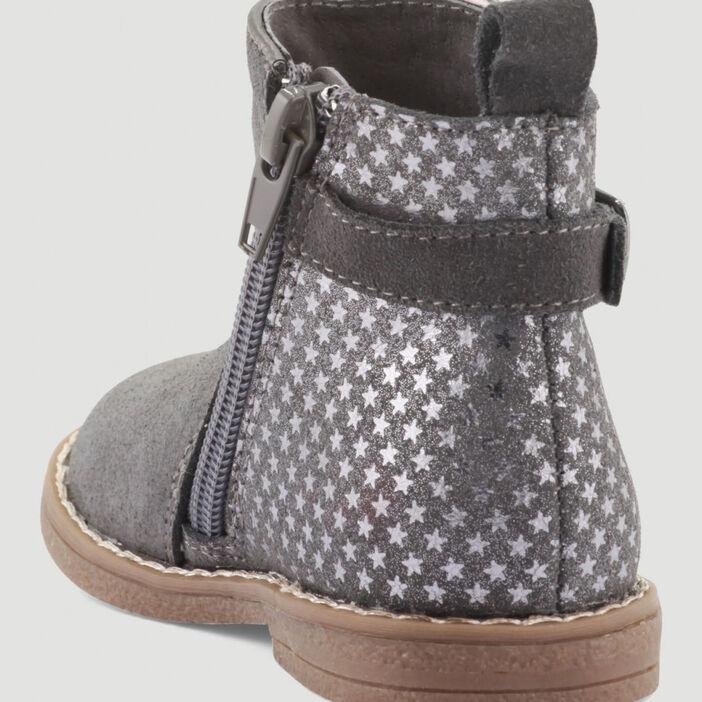 Bottines zippées bimatière bébé fille gris