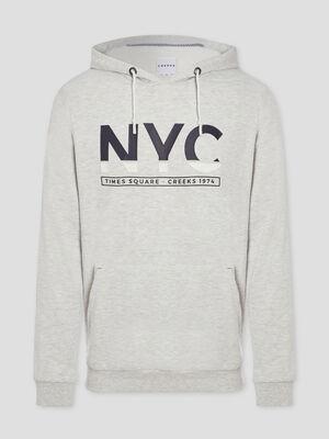 Sweatshirt a capuche avec imprime gris homme