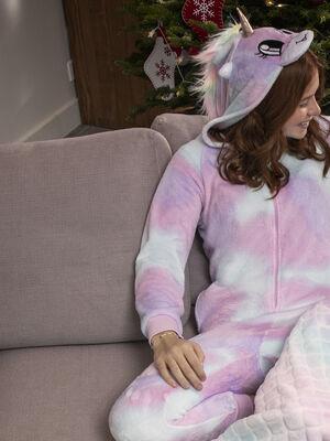 Combinaison de pyjama a capuche rose clair fille