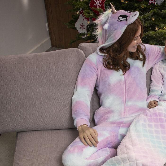 Combinaison de pyjama à capuche fille rose clair