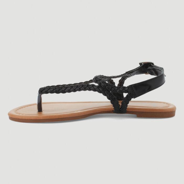 Sandales avec entredoigt tressées femme noir