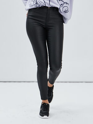 Pantalon enduit skinny push up noir femme
