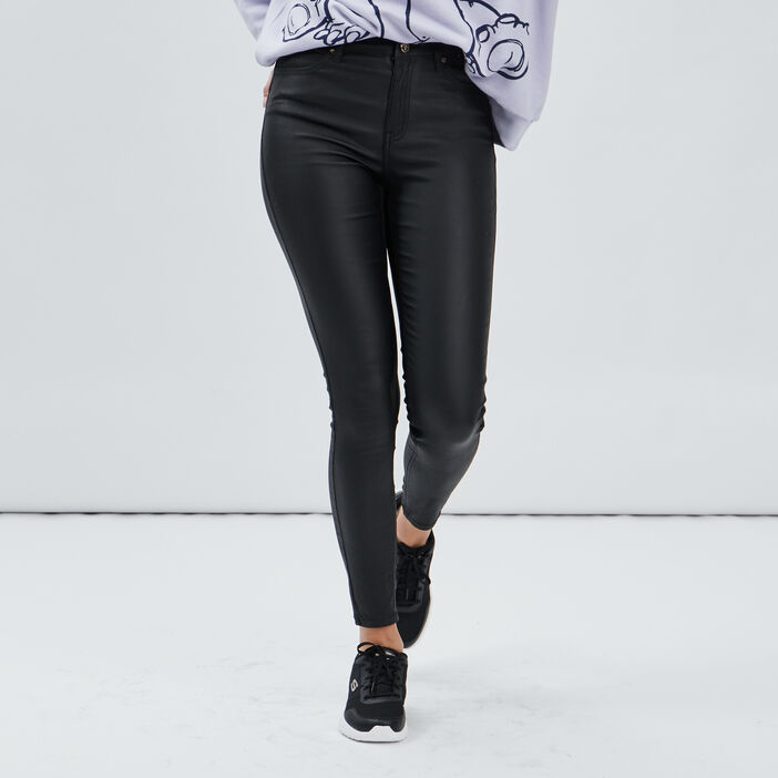 Pantalon enduit skinny push up femme noir