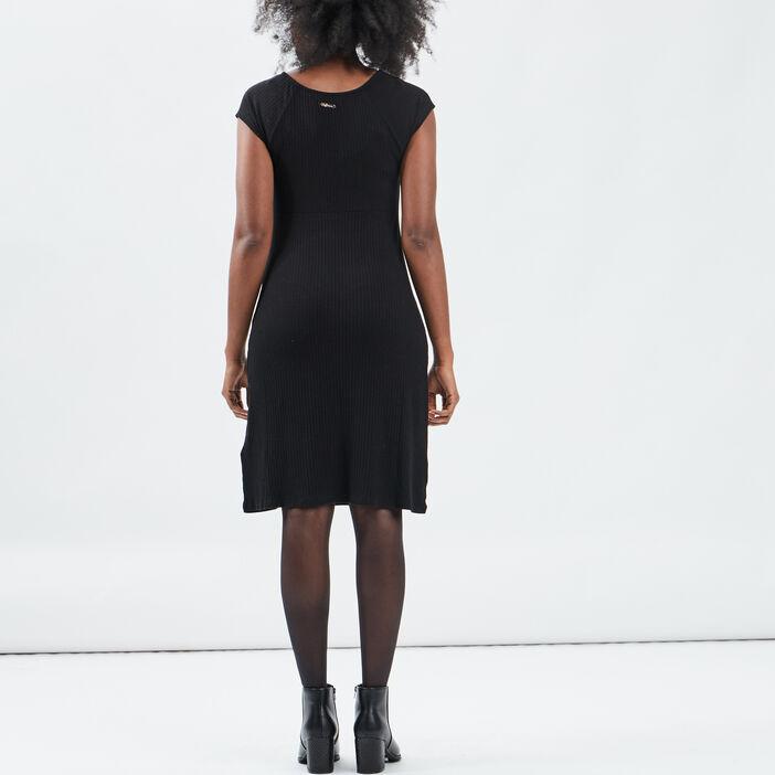 Robe pull droite avec noeud femme noir