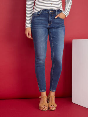 Jean coupe skinny taille basse denim stone femme