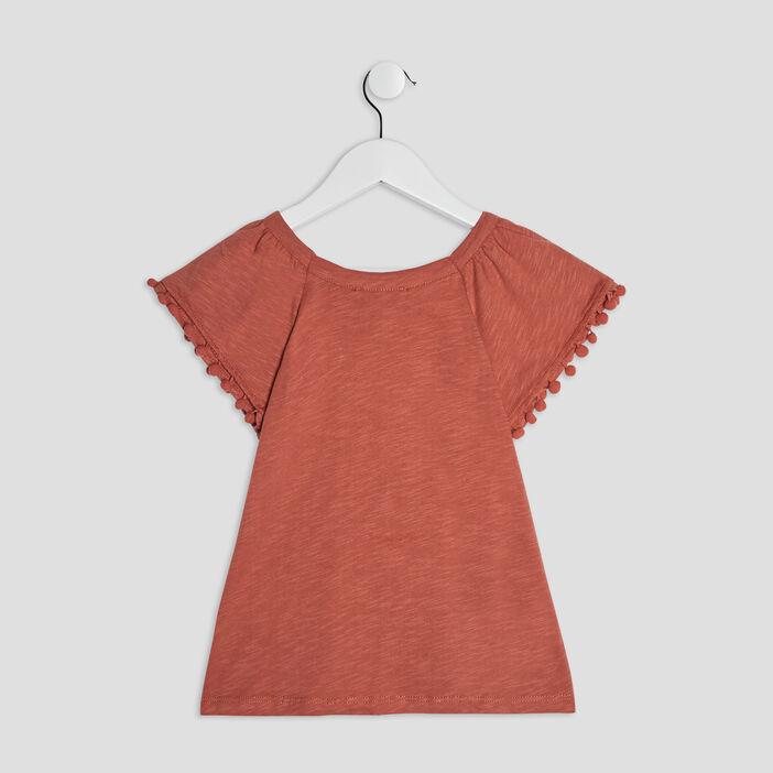 T-shirt manches courtes fille orange foncé