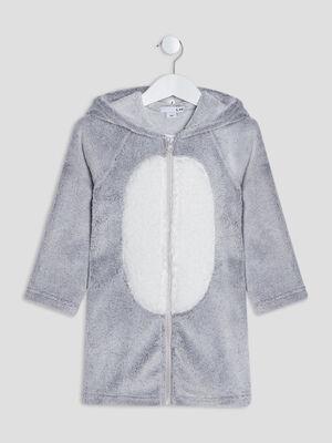 Peignoir a capuche gris fille