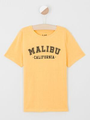 T shirt uni message devant jaune garcon
