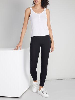 Legging long uni noir femme