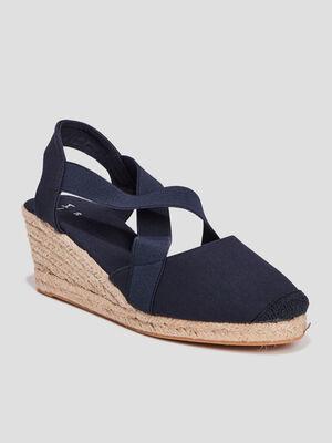 Sandales compensees bleu femme