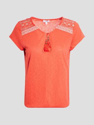 T shirt manches courtes rouge corail femme