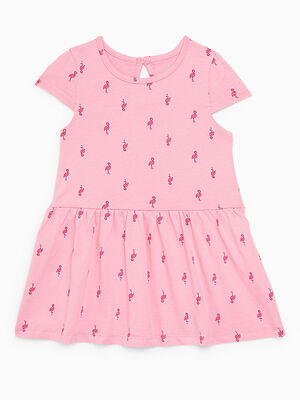 Robe fleurie a manches courtes rose fille