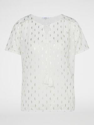 T shirt imprime avec lien pompon ecru femme