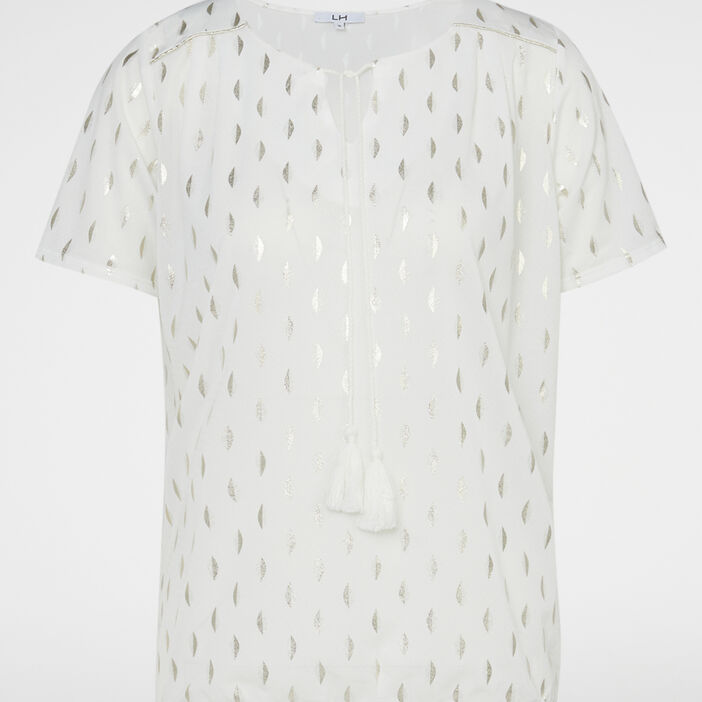 T-shirt imprimé avec lien pompon femme ecru
