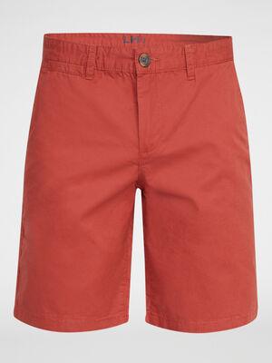 Bermuda uni en coton orange fonce homme