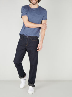 Jean regular coton denim blue black homme