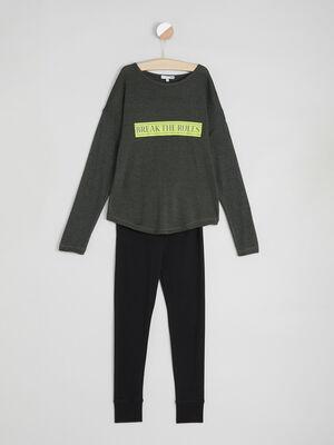 Pyjama vert kaki fille