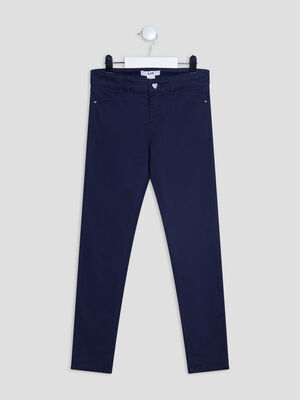 Pantalon droit satin de coton bleu marine fille