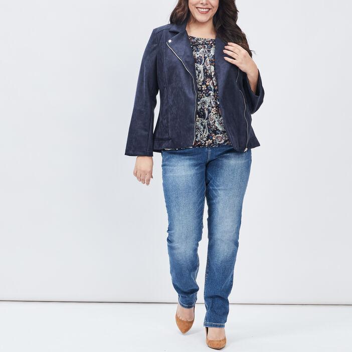 Chemise manches longues femme grande taille bleu