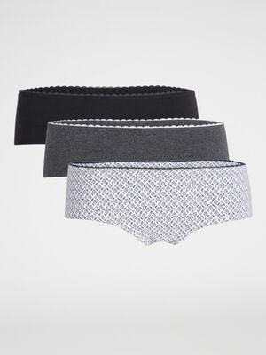 Lot de 3 boxers coton noir femme