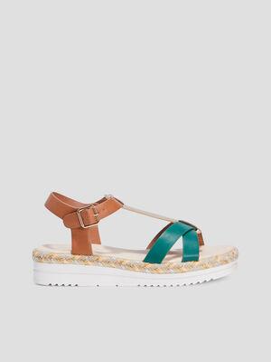 Sandales compensees vert femme