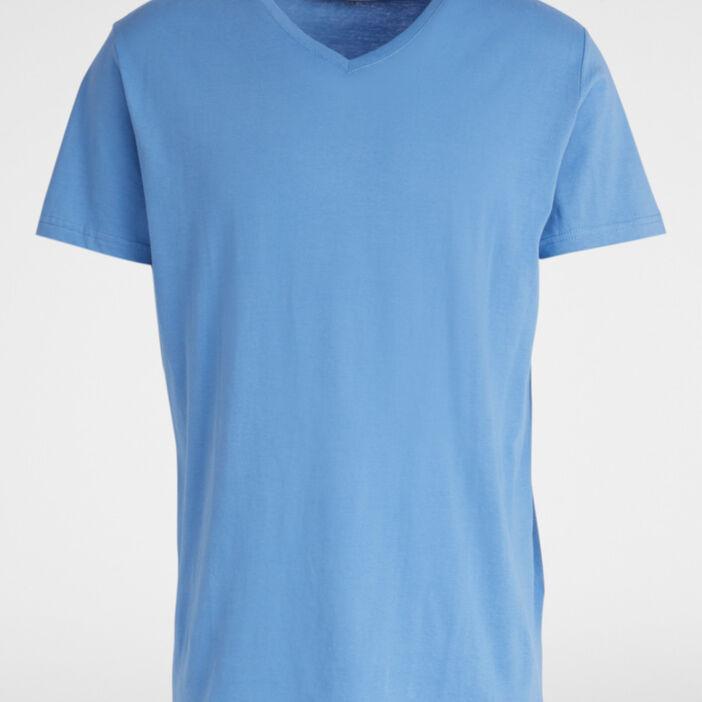 T-shirt col V uni homme bleu