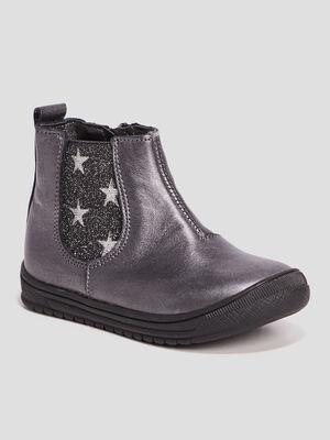 Bottines en cuir gris argent fille
