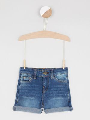 Short en jean coton melange denim stone fille