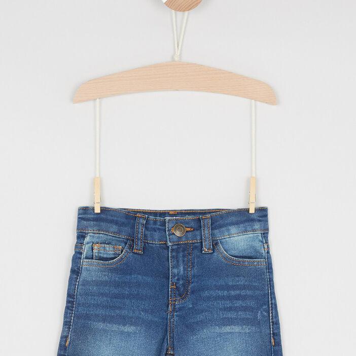 Short en jean coton mélangé fille denim stone