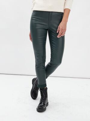 Pantalon enduit skinny taille haute vert fonce femme