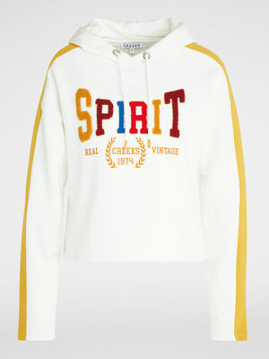 Sweatshirt imprime a capuche ecru femme