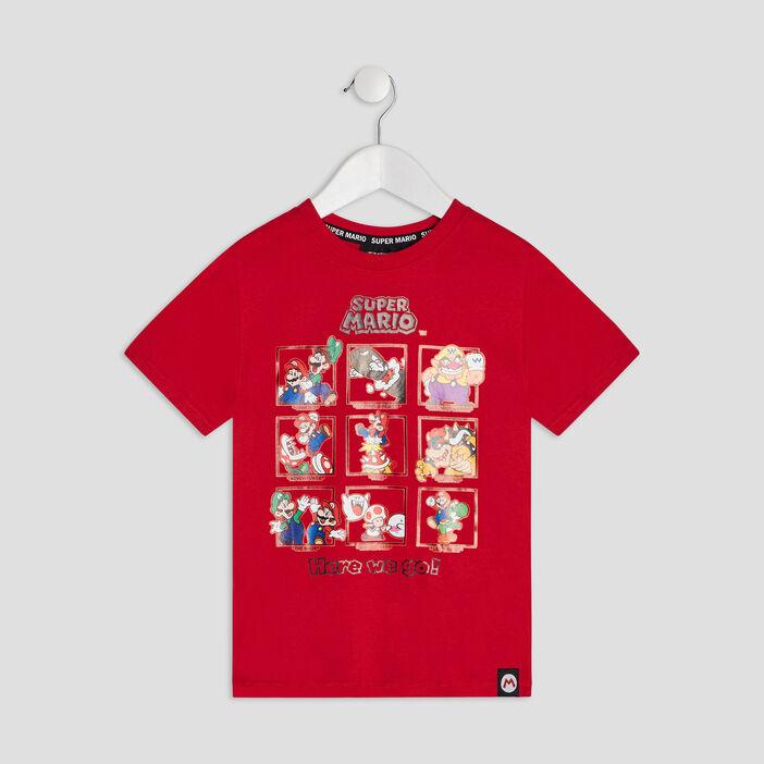 T-shirt manches courtes Mario garçon rouge