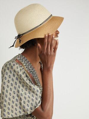 Chapeau cloche en paille bicolore beige femme