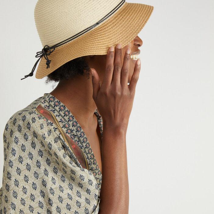 Chapeau cloche en paille bicolore femme beige
