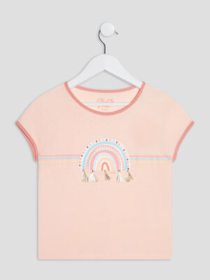 T shirt manches courtes Creeks rose clair fille