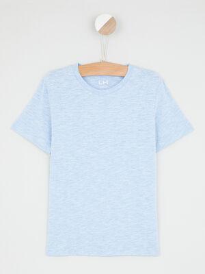 T shirt chine coton majoritaire bleu garcon